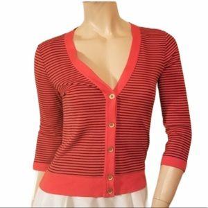 J Crew Perfect Fit XS Black Red Striped Cardigan